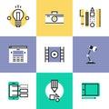 Icone del pittogramma di progettazione grafica e di web messe Immagini Stock Libere da Diritti