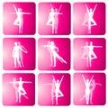 Icone della siluetta di ballo di yoga di forma fisica Fotografia Stock Libera da Diritti