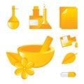 Icone delle medicine alternative Fotografia Stock