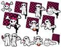 Icone irritabili di colore rosa & del nero Immagine Stock