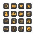 Icone sociali della rete Fotografie Stock Libere da Diritti