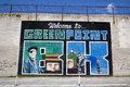 """Iconic """"welcome to greenpoint bk"""" mural at the india street mural project in brooklyn new york may on may Stock Photo"""