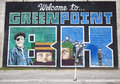 """Iconic """"welcome to greenpoint bk"""" mural at the india street mural project in brooklyn new york may on may Royalty Free Stock Image"""
