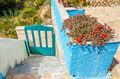 Iconic blue fence and blue white wall with red flowers loo stone stairs in typical greek house Stock Photography
