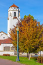 Iconic depot in Boise Idaho with fall trees Royalty Free Stock Photo