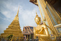 Iconic golden kinnari statue in the grand palace bangkok thailand Royalty Free Stock Images