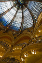 The iconic mosaic glass dome of the galeries lafayette shopping center in paris france Stock Images