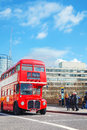 Iconic red double decker bus in London, UK Royalty Free Stock Photo