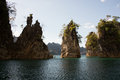 Iconic rocks at khao sok national park traveling through thailand Stock Images