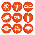 Iconography nine orange icons with white silhouettes related to fitness elements Stock Image