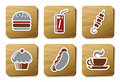 Iconos de los alimentos de preparación rápida | Serie de la cartulina Imágenes de archivo libres de regalías