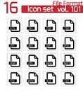 Iconos negros del formato de archivo del vector Fotografía de archivo