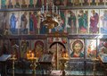 The iconostasis of the russian orthodox church pskov russia april st basil great Stock Photo