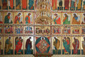 Iconostasis is in the solovki monastery recovered with faces of saints a temple Royalty Free Stock Photos
