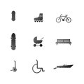 Icons for active leisure in the park with some bike longboard and segway and others set of black silhouette on white background Stock Photo