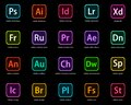 Icons of Adobe`s Creative Cloud applications Royalty Free Stock Photo