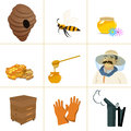 Icons apiaries and bee vector. Apiary set web.