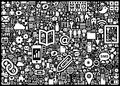 Icons background a image composed of various people technology and internet Royalty Free Stock Images