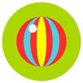 Icons ball of toys in the flat style. Vector image on a round colored background. Element of design, interface.
