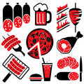 Icons barbecue food Stock Photos
