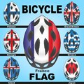 Icons bicycle helmets and flags countries painted in the colors of of different Royalty Free Stock Photo