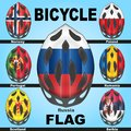 Icons bicycle helmets and flags countries painted in the colors of of different Royalty Free Stock Image