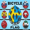 Icons bicycle helmets and flags countries painted in the colors of of different Stock Photography