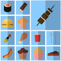 Icons blue flat fast food. simple vector icon with shadow food and drink. Icon meat grill Royalty Free Stock Photo