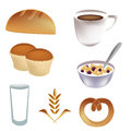 Icons for breakfast seven colored a delicious Royalty Free Stock Images