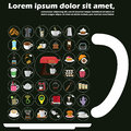 Icons about the cafe on a mug of coffee. Royalty Free Stock Photo