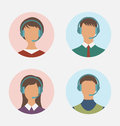 Icons of call center operator with man and woman are featureless Royalty Free Stock Photo