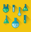 Icons of chemical test tubes with shadows modern flat style illustration Royalty Free Stock Photo