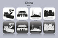 Icons of china landmarks set monochrome editable vector illustration Stock Images