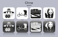 Icons of china landmarks set monochrome editable vector illustration Royalty Free Stock Photo