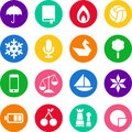 Icons in circles Stock Images