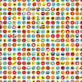 Icons and circles seamless pattern repeated with mini doodle drawings illustration is in eps vector mode Royalty Free Stock Photography