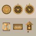 Icons for clocks six brown flat different kinds of Stock Image