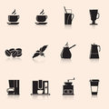 Icons coffee: coffee grinder, mug, coffee grains Royalty Free Stock Photo