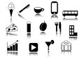 Icons collection black silhouettes design Stock Photography