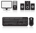Icons of computer, audio system, keyboard and mouse Royalty Free Stock Photo