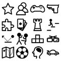 Icons for computer and playstation games vector set of Stock Photos