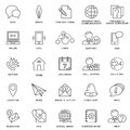 Icons contact us. Methods of communication and information. Thin lines.