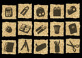 Icons on crumpled paper Royalty Free Stock Photo