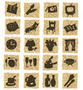 Icons on crumpled paper Royalty Free Stock Photography