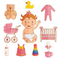 icons of cute baby girl. Vector Royalty Free Stock Photo