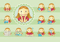 Icons of cute girls Stock Images