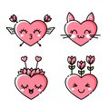 Icons of cute pink hearts.