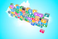 Icons d render of internet and cloud concept Royalty Free Stock Image