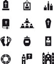 Icons of death funerals and religion black illustrating subjects related to white background Royalty Free Stock Photos