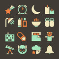 Icons deep sleep set colored in a flat style on a dark brown background Stock Image